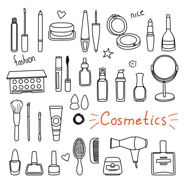 手描き女性アクセサリーのセットです。化粧品 - メイク点のイラスト素材/クリップアート素材/マンガ素材/アイコン素材