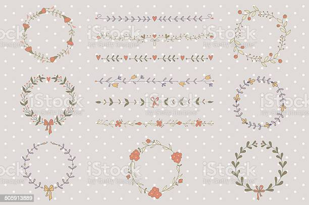 Set of hand drawn wreaths and boarders vector id505913889?b=1&k=6&m=505913889&s=612x612&h=ebr8mwfcqbfxdxdul8a4desewih8kiqvzwm24ue17t4=