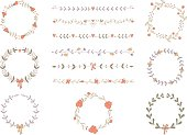 Set of hand drawn wreaths and boarders. EPS 10. No transparency. No gradients.