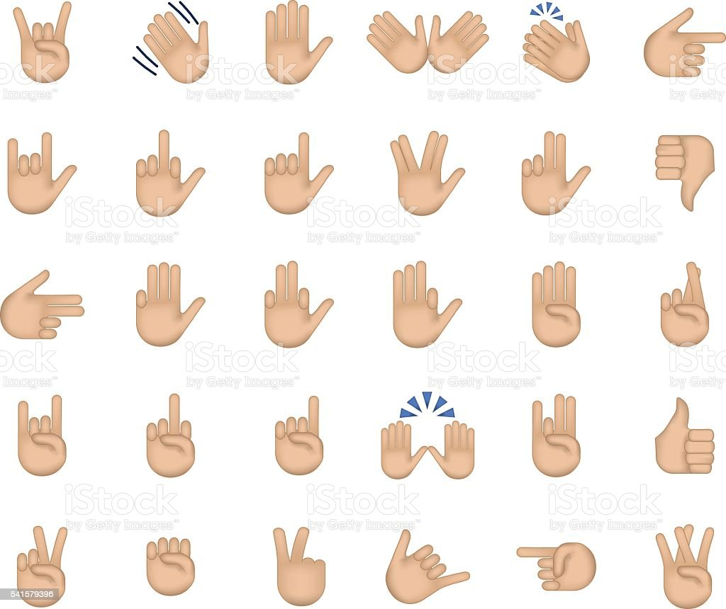 Set of hand emoticon vector art illustration