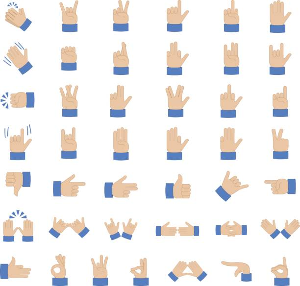 set of hand emoticon - hand holding phone stock illustrations