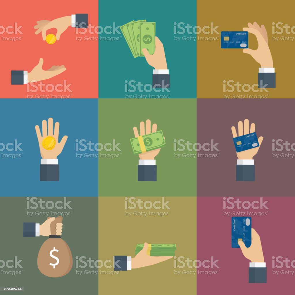 Set Of Hand Gesture with Cash of Money and Credit Card vector art illustration