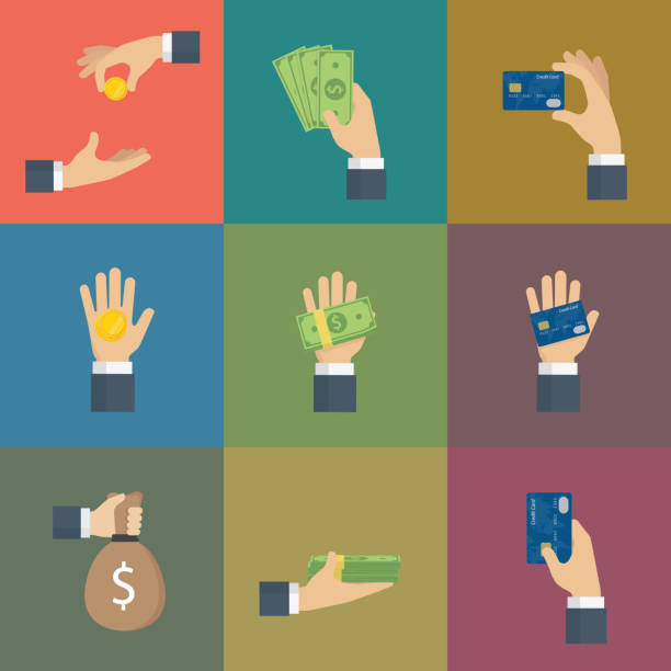 Set Of Hand Gesture with Cash of Money and Credit Card Set of hands holding Cash and Credit Card wages stock illustrations