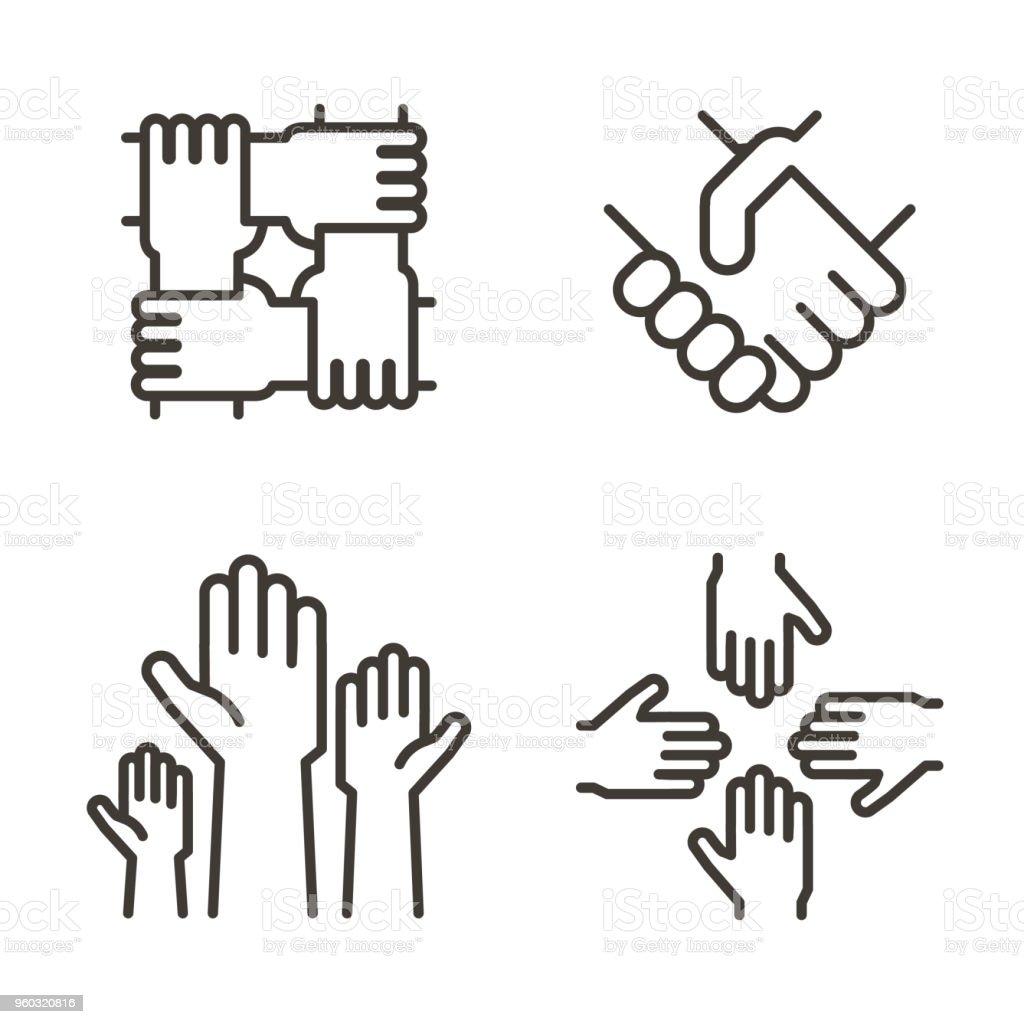 Ensemble d'icônes main représentant partenariat, communauté, charité, travail d'équipe, entreprise, amitié et célébration. Conception de vecteur ligne mince icône ensemble dicônes main représentant partenariat communauté charité travail déquipe entreprise amitié et célébration conception de vecteur ligne mince icône vecteurs libres de droits et plus d'images vectorielles de accord - concepts libre de droits