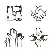 Set of hand icons representing partnership, community, charity, teamwork, business, friendship and celebration. Vector thin line icon design