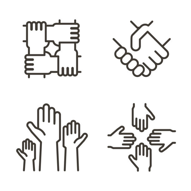 Set of hand icons representing partnership, community, charity, teamwork, business, friendship and celebration. Vector thin line icon design vector eps10 shaking stock illustrations