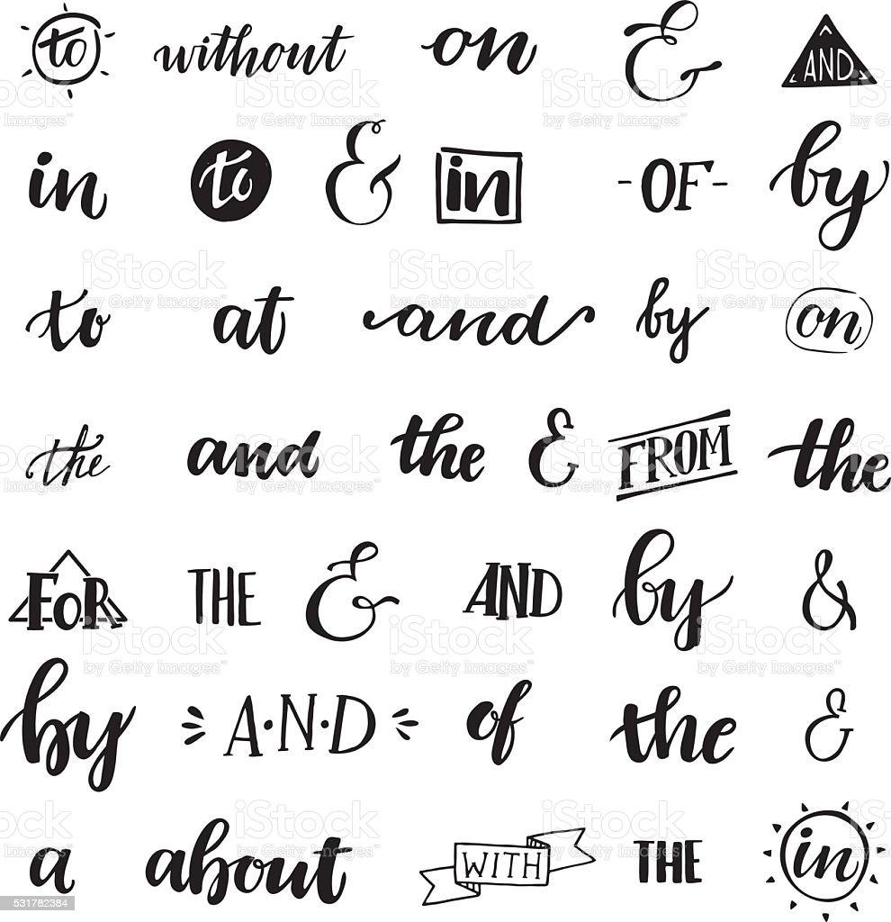 Set of hand lettered ampersands and catchwords vector art illustration