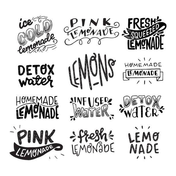 ilustrações, clipart, desenhos animados e ícones de jogo de frases da rotulação da mão sobre a limonada - texto