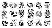 Set of Hand lettering quotes with sketches for coffee shop or cafe. Hand drawn vintage typography collection isolated on white background. Vector