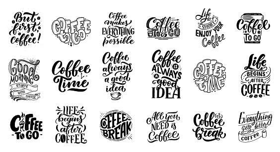 Set of Hand lettering quotes with sketches for coffee shop or cafe. Hand drawn vintage typography collection isolated on white background clipart