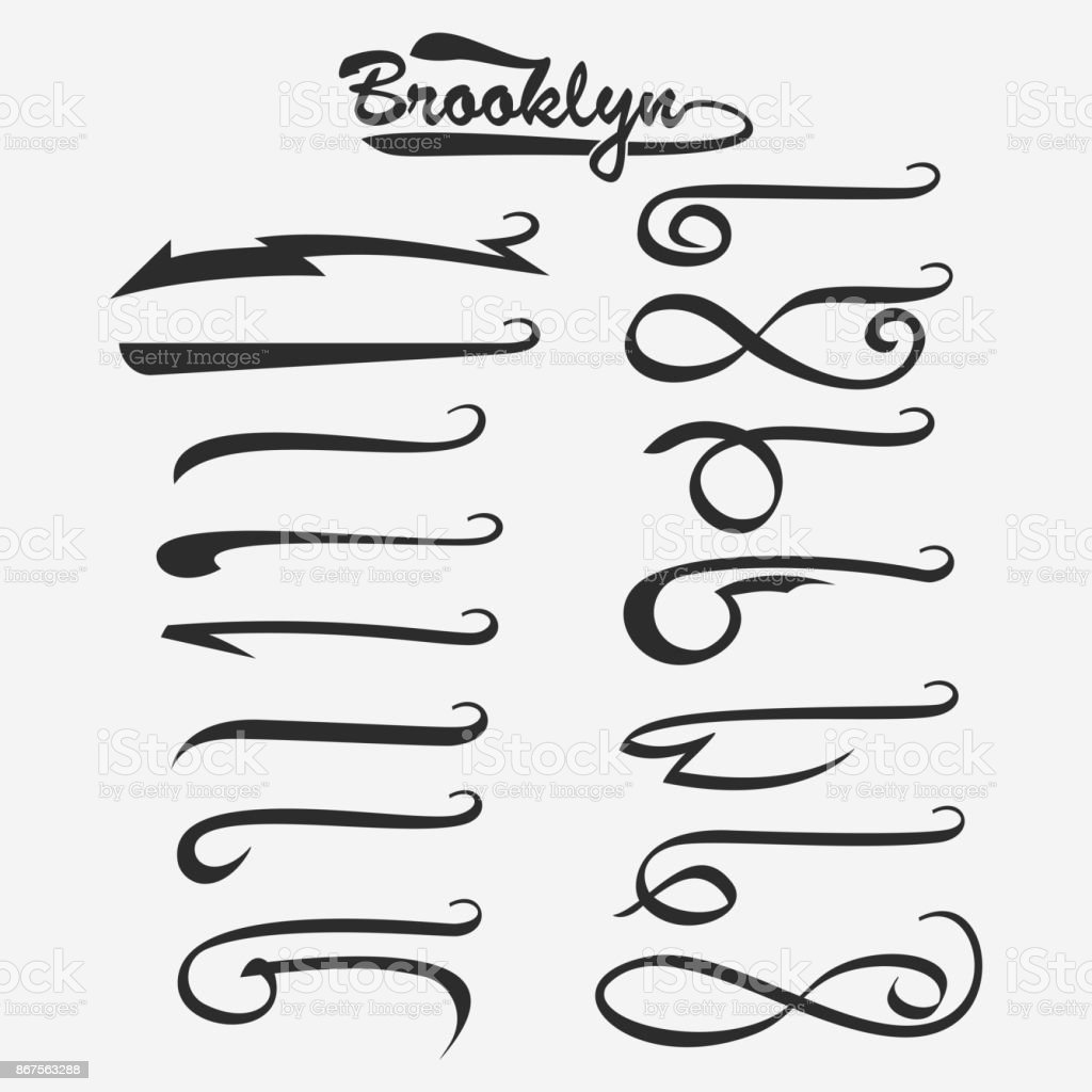 Set of hand lettering underlines swishes tail, swooshes collection isolated on white, Swashes for Typography Tshirt. Retro Swoop wave line. Vector. vector art illustration
