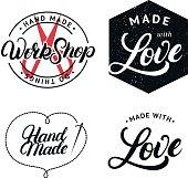 Set of hand made hand written lettering label, badge, emblem.