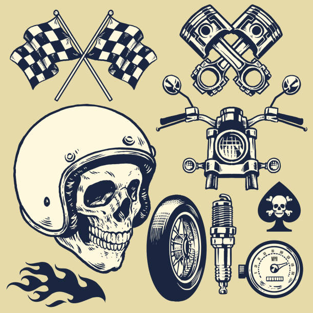 set of hand made of vintage motorcycle element - motorcycle stock illustrations, clip art, cartoons, & icons