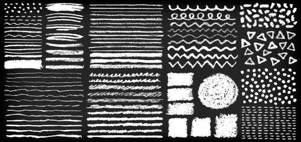 handgemalte kreide stift pinsel-set - kreide stock-grafiken, -clipart, -cartoons und -symbole