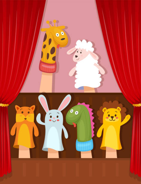 set of hand puppets - kukiełka stock illustrations