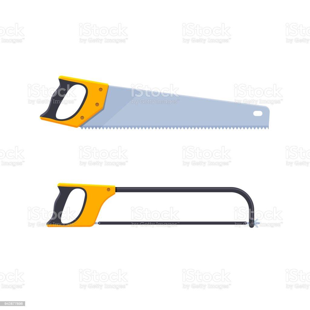 satz von handsägen konzipiert für holz sägen für metall stock vektor