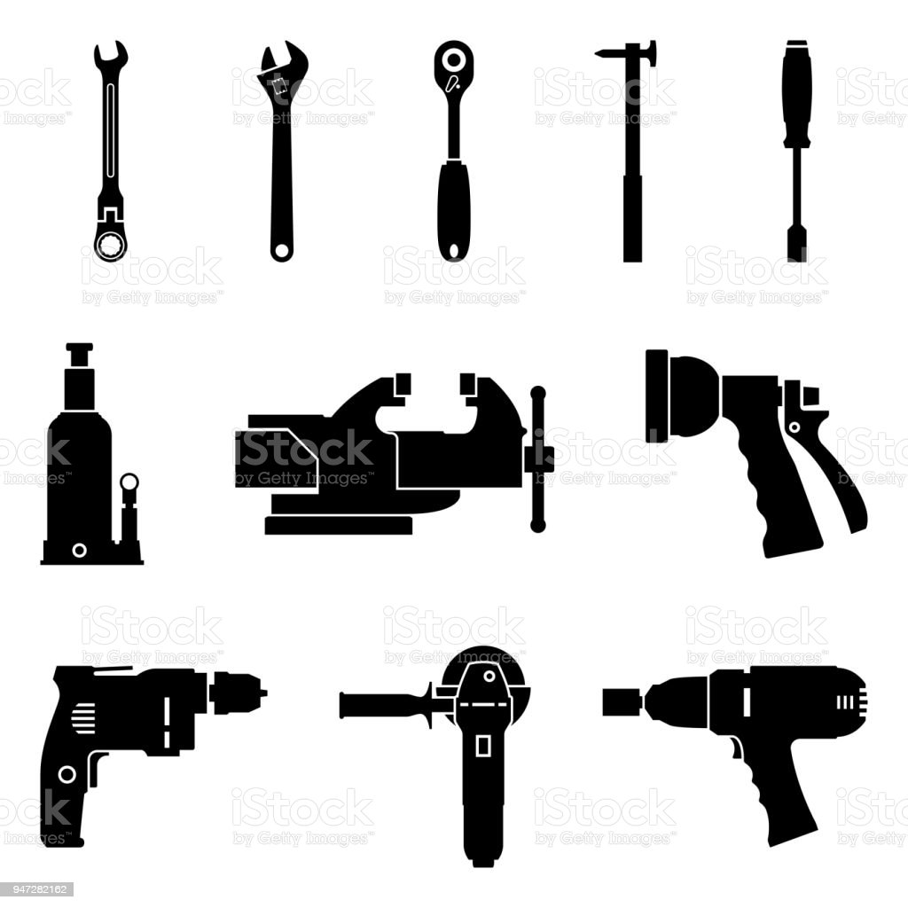 Set of hand tools for repair and maintenance. Silhouette vector icons vector art illustration