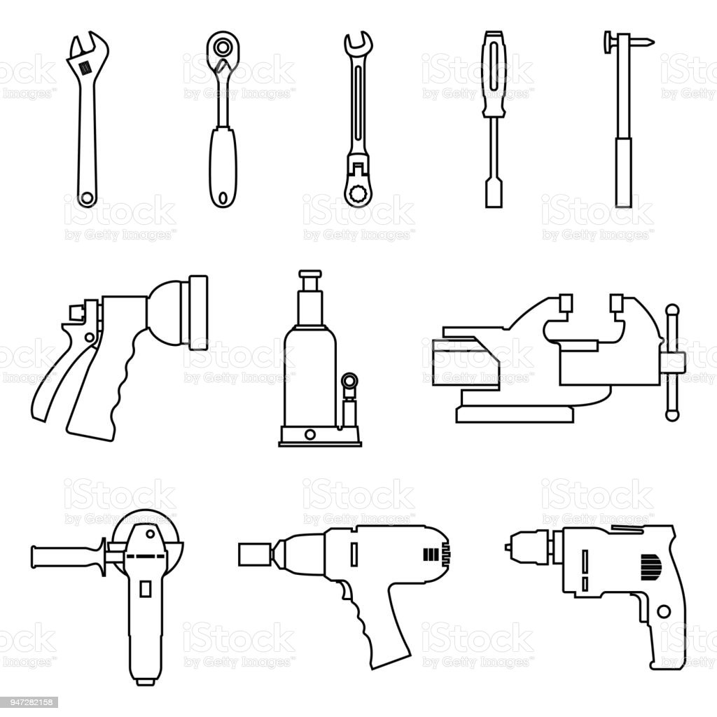 Set of hand tools for repair and maintenance. Vector thin line vector art illustration