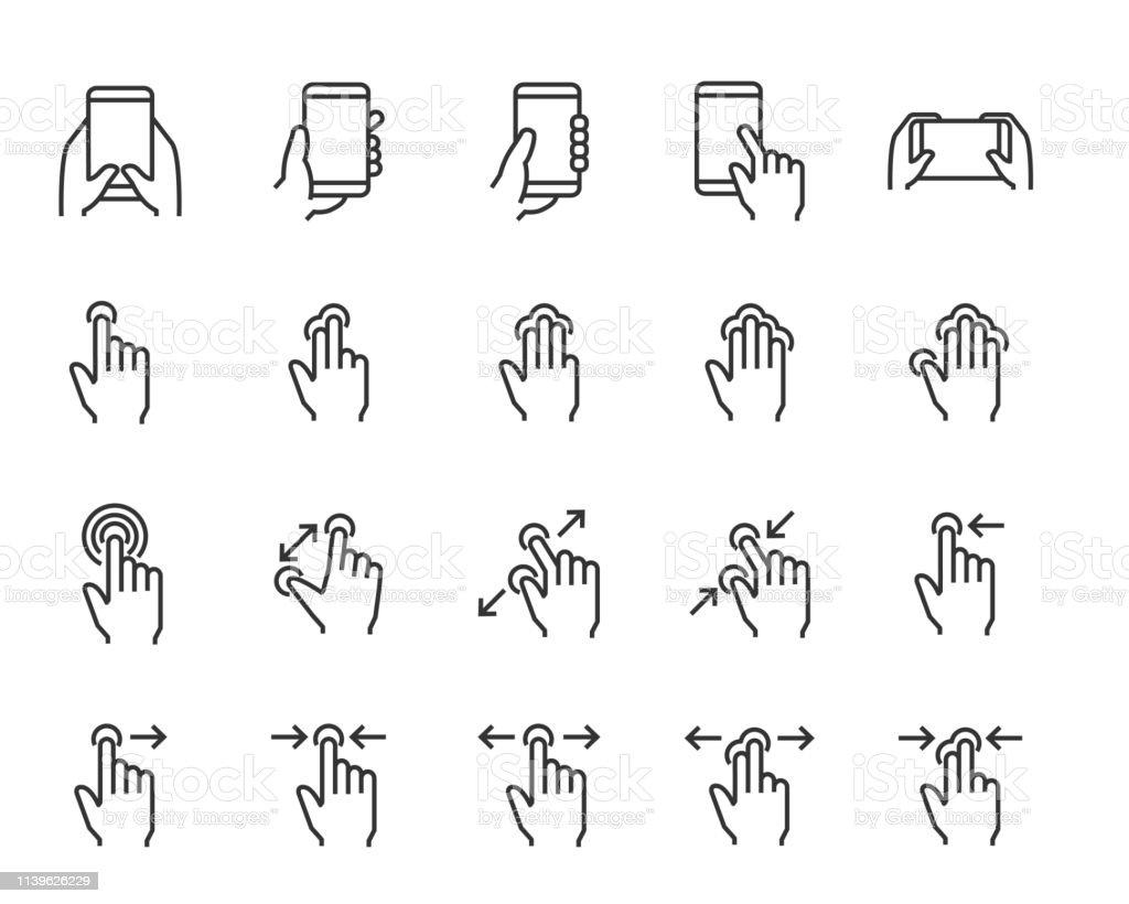손, 응용 프로그램, 전화, 탭, 터치와 같은 손의 터치 스크린 제스처 아이콘의 집합 - 로열티 프리 그래픽 사용자 인터페이스 벡터 아트