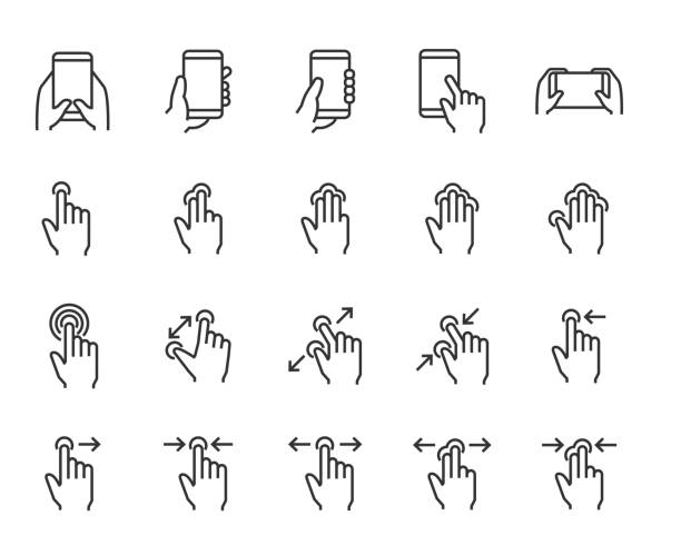 set of hand touchscreen gesture icons, such as hand, app, phone, tap, touch - phone hand stock illustrations