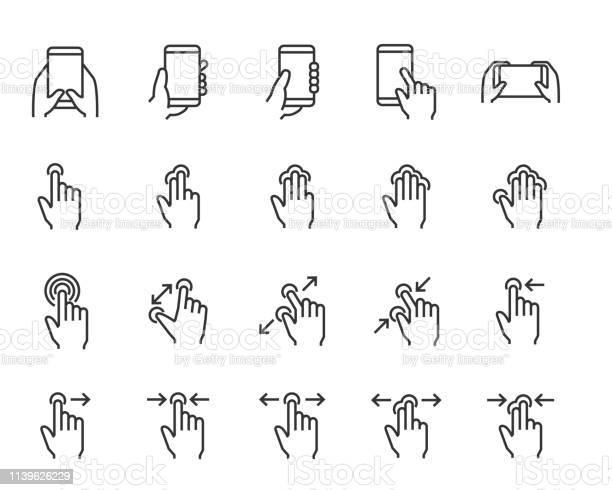 손 응용 프로그램 전화 탭 터치와 같은 손의 터치 스크린 제스처 아이콘의 집합 그래픽 사용자 인터페이스에 대한 스톡 벡터 아트 및 기타 이미지