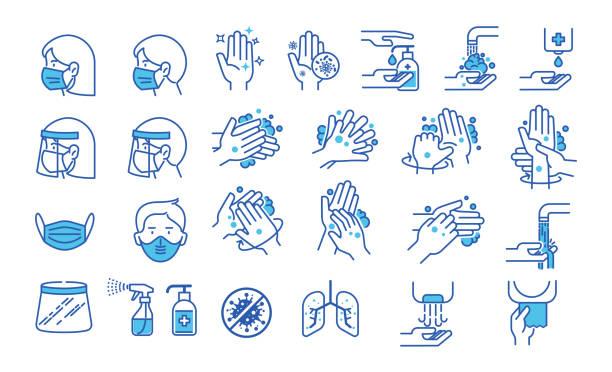 細い線のスタイルの手洗いアイコンのセット。衛生アイコン。手洗い、石鹸、アルコール、洗剤、抗菌性、マスクなどのアイコン。ベクターイラストレーション。 - 体 洗う点のイラスト素材/クリップアート素材/マンガ素材/アイコン素材