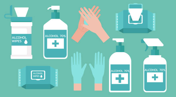 illustrazioni stock, clip art, cartoni animati e icone di tendenza di set of hand washing supplies for good hygiene - carta velina