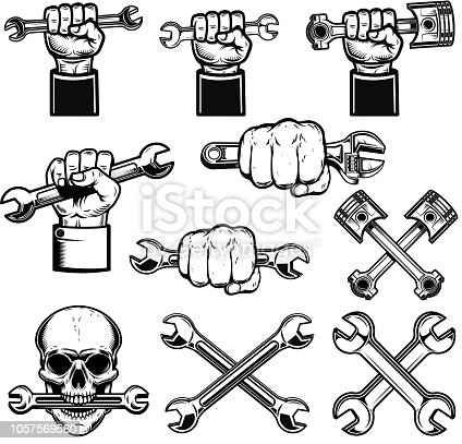 Set of hand with working tools, wrenches. Mechanic on duty. Design element for label, emblem, sign, poster. Vector illustration