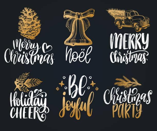stockillustraties, clipart, cartoons en iconen met set van handgeschreven kerst zinnen. vector hand getekende illustraties van nieuwjaar speelgoed en geboorte symbolen. - cheering