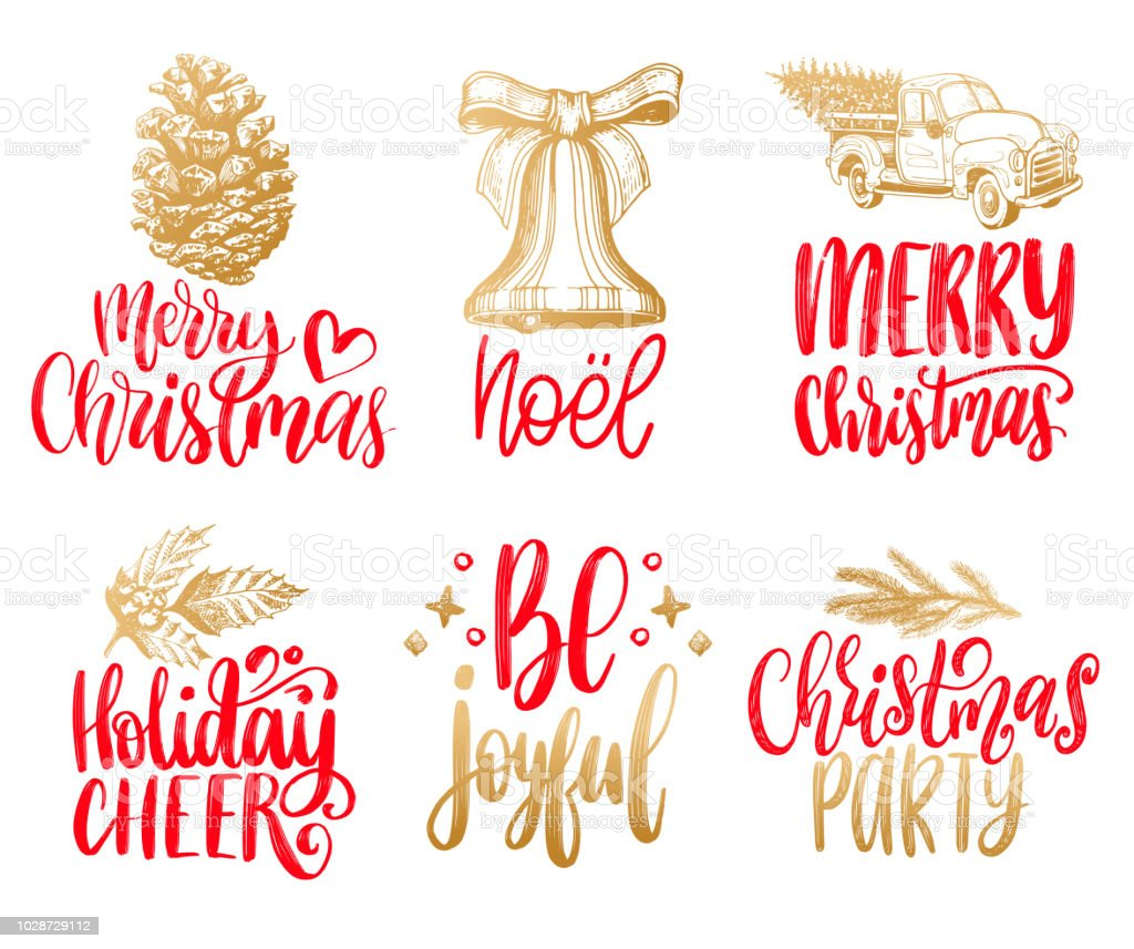 Set Of Hand Written Christmas Phrases Vector Hand Drawn ...