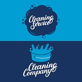 Set of hand written lettering Cleaning Service labels, badges, emblems. Isolated on background. Vector illustration.