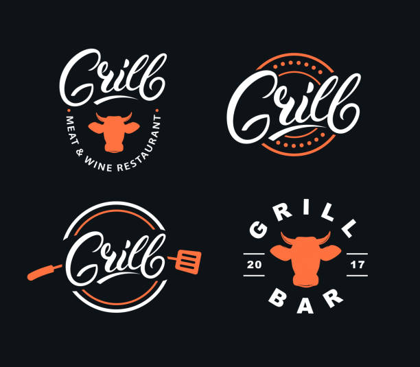set of hand written lettering grill logo - restaurant logos stock illustrations, clip art, cartoons, & icons
