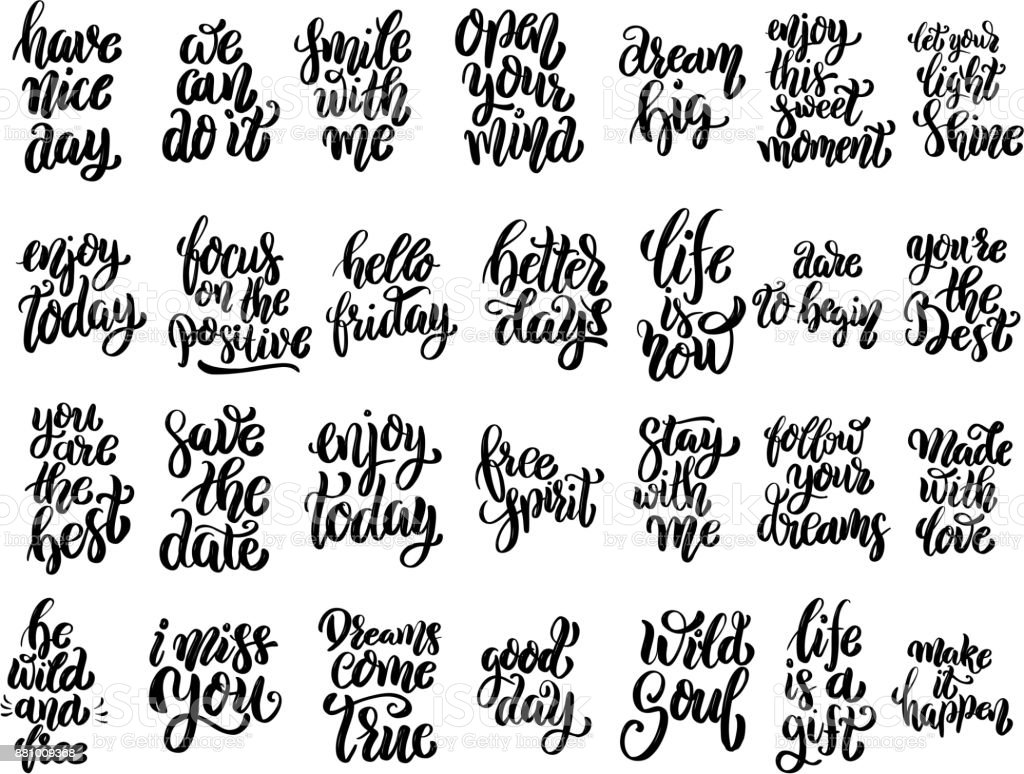 Set Of Hand Written Lettering Motivational Quotes Inspirational