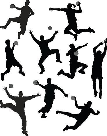 Set of Handball Players Silhouetes