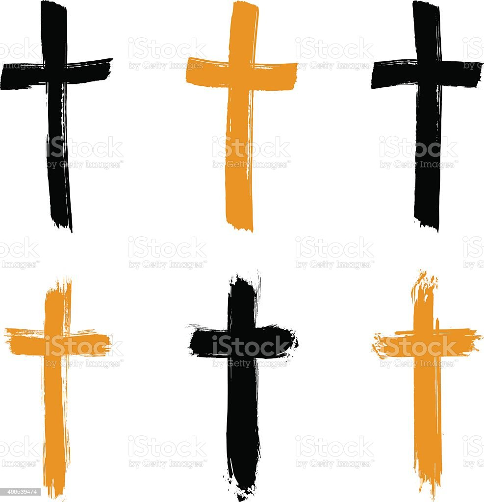 Set of hand-drawn black and yellow grunge cross icons vector art illustration