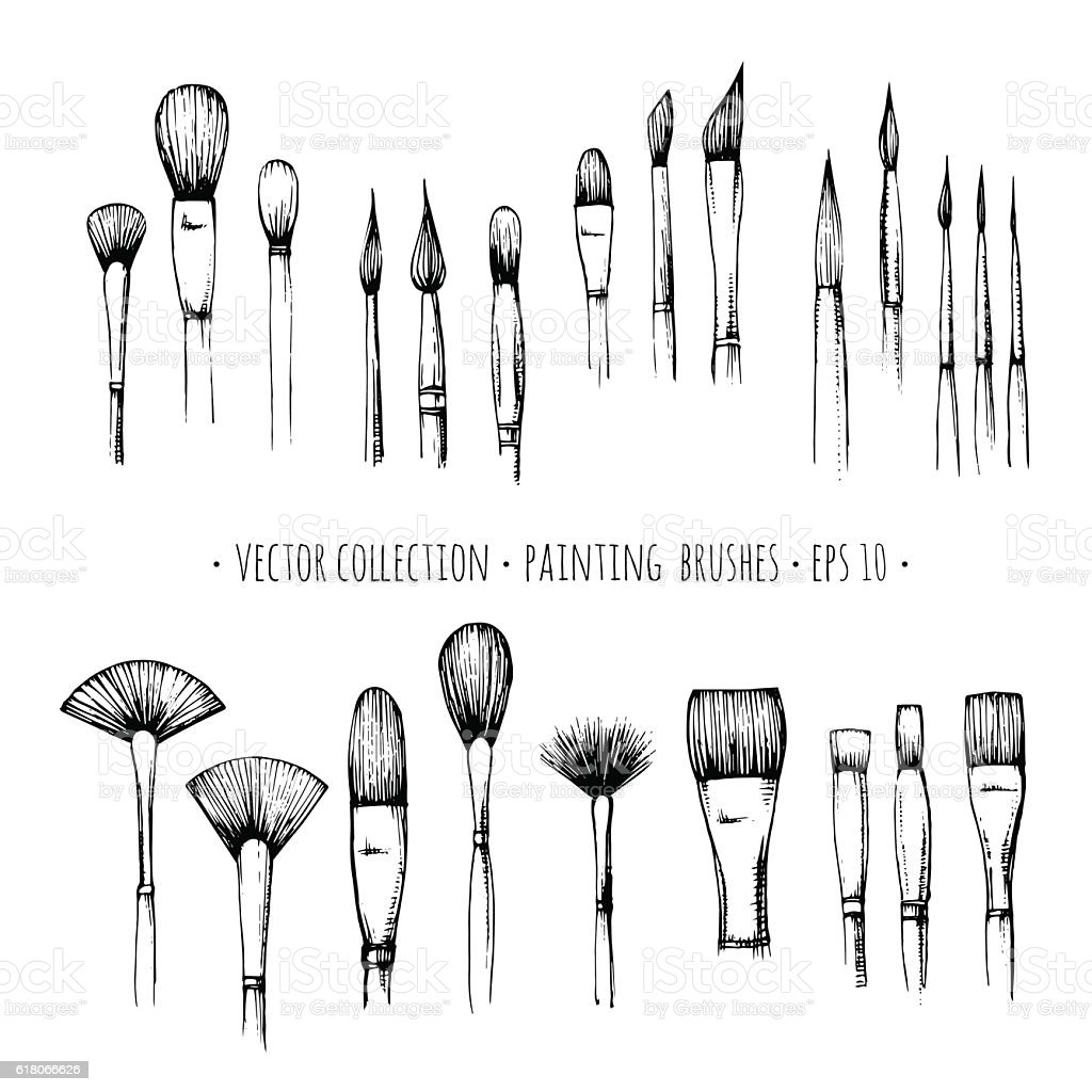 Set of hand-drawn brushes for painting isolated on white background vector art illustration