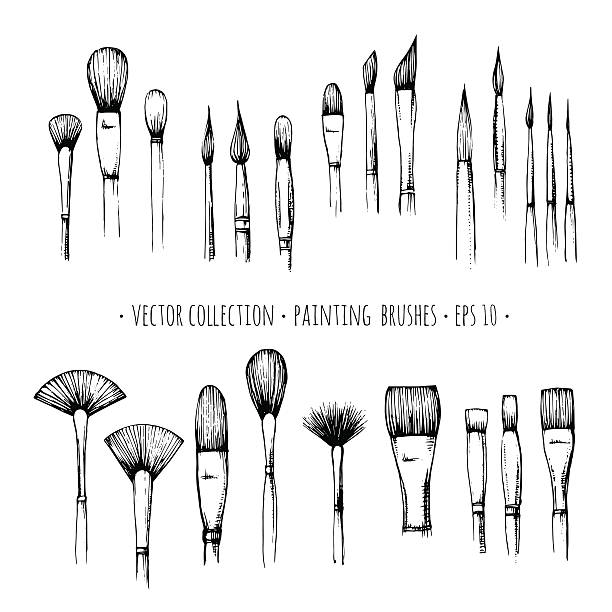 set of hand-drawn brushes for painting isolated on white background - künstler stock-grafiken, -clipart, -cartoons und -symbole