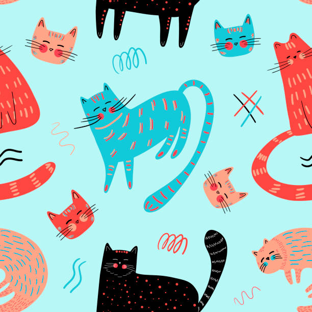 Set of hand-drawn cats in the doodle style vector art illustration