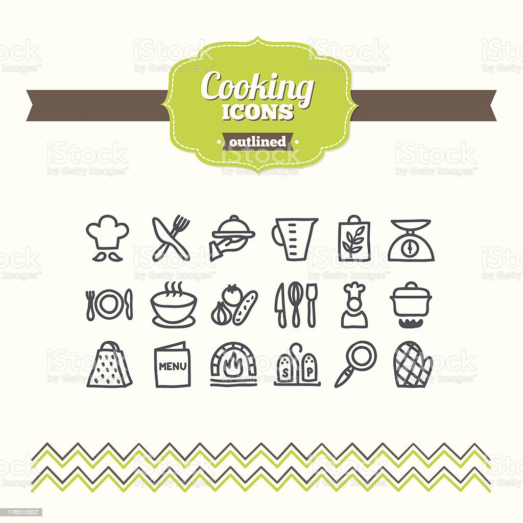 Set of hand-drawn cooking icons vector art illustration