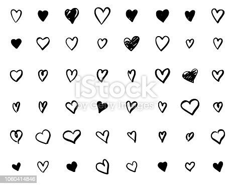 set of hand-drawn doodle hearts