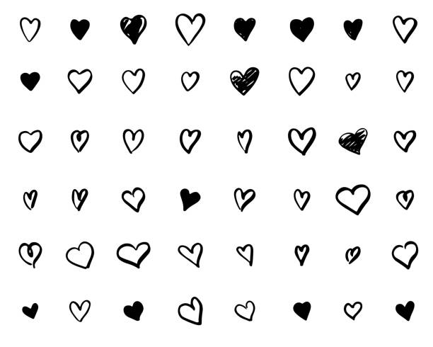 set of hand-drawn doodle hearts - szkic rysunek stock illustrations