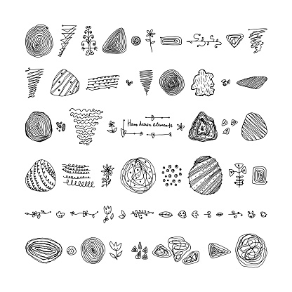 set of hand-drawn elements and textures.