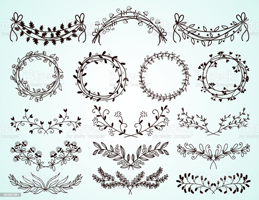 Set Of Hand Drawn Floral Borders And Wreaths Royalty Free Handdrawn