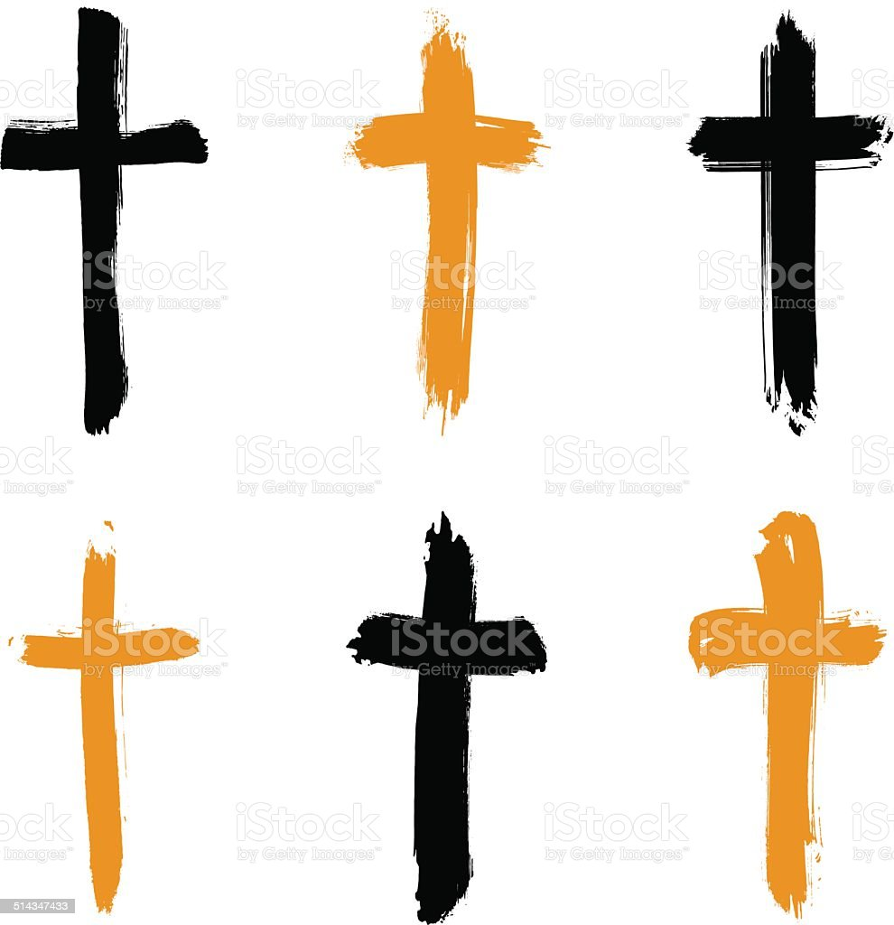 Set of hand-drawn grunge cross icons, collection vector art illustration