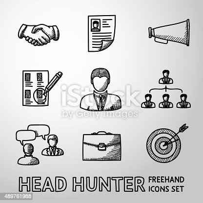 Set of handdrawn Head Hunter icons with - handshake, resume, mouthpiece, choice, employee, hierarchy, interview, portfolio, target with arrow in center. Vector illustration