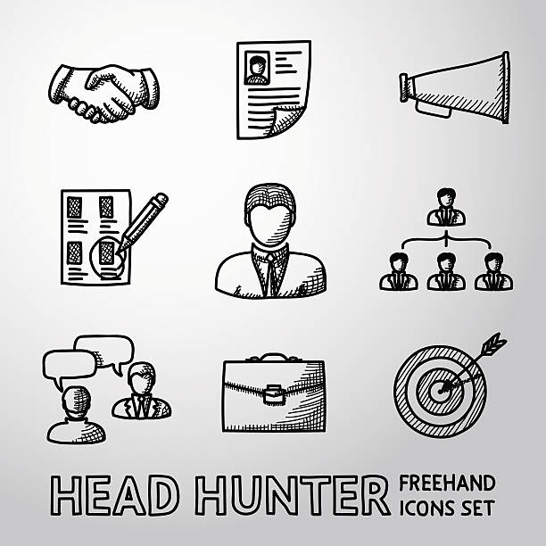 Set of handdrawn Head Hunter icons  - handshake, resume, mouthpiece Set of handdrawn Head Hunter icons with - handshake, resume, mouthpiece, choice, employee, hierarchy, interview, portfolio, target with arrow in center. Vector illustration military recruit stock illustrations