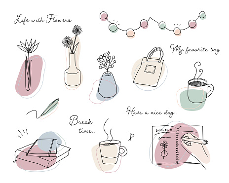 A set of hand-drawn illustrations related to home decor and relaxation.