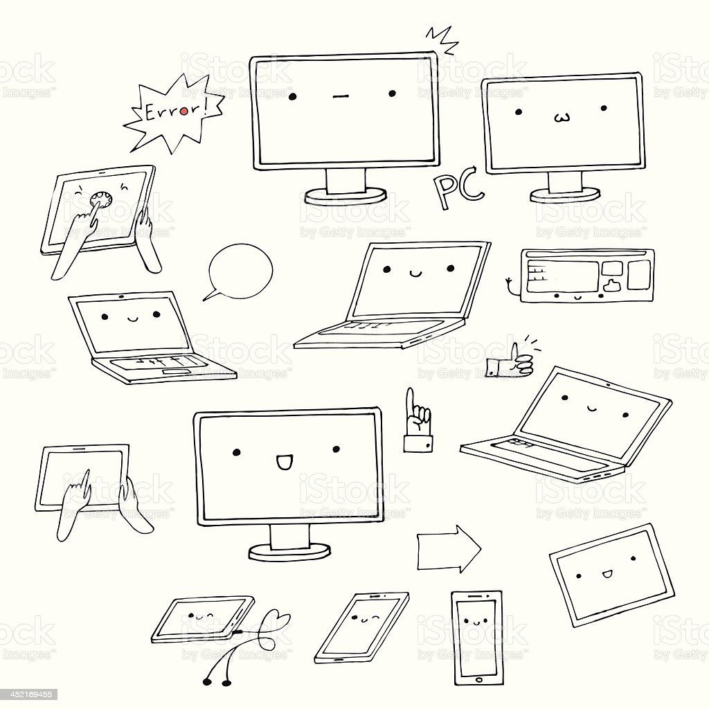 Set of hand-drawn kawaii gadgets royalty-free stock vector art