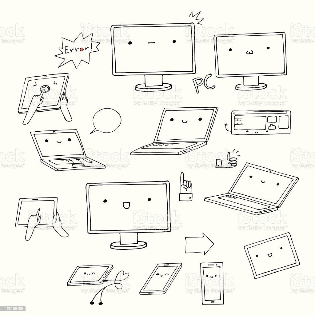 Ensemble de gadgets complètement kawaii dessiné à la main - Illustration vectorielle