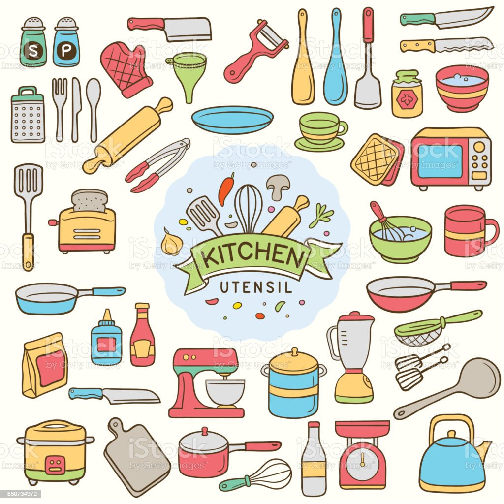Set of handdrawn kitchen utensil vector art illustration